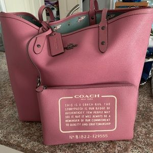 Coach textured canvas tote. Sharks and roses
